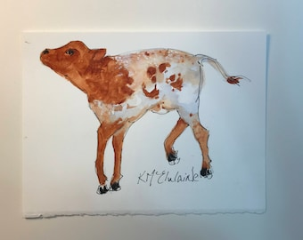 Baby Bull,  Watercolor Painting, 6x8, Kathleen McElwaine, KMcElwaine