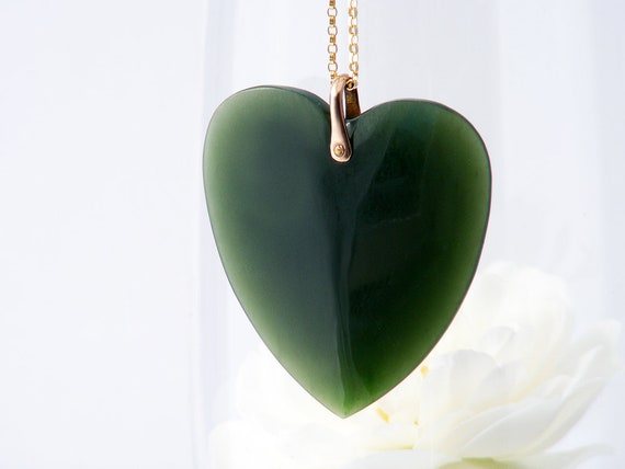 Antique Jade Heart Pendant | Extra Large Jade Heart, Victorian Nephrite Jade Heart | Love Token Pendant, Gold Bail - 20 Inch Chain
