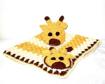 Crochet Baby Blanket, Hat Set, Newborn, Giraffe, Yellow, Off White, Brown Baby Shower,