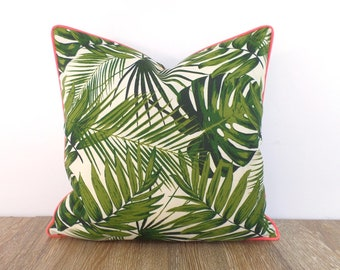 Tropical leaf outdoor pillow cover Palm Beach Decor, green and salmon pillow case, tropical outdoor cushion swaying palm print gift for her
