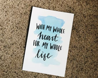 Hand Lettered Print Wall Art Watercolor