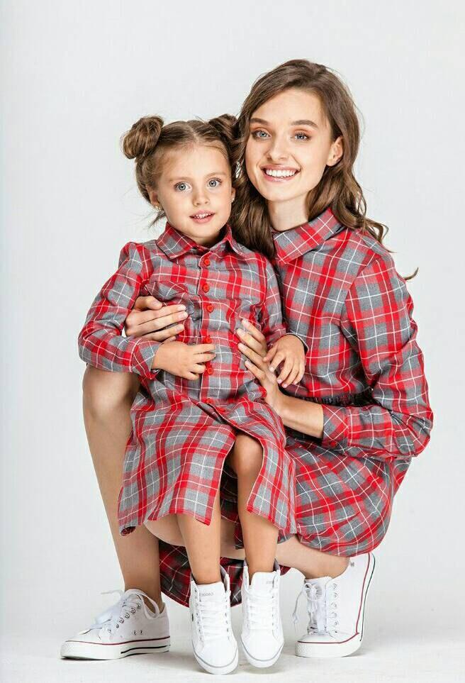 Juego vestidos madre plaid vestido hija estilo de camisa