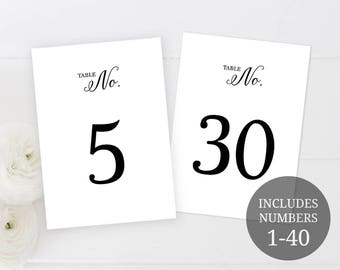 Table Numbers Printable - Table Number Printable - Printable Table Numbers - Wedding Table Numbers -Table Numbers Template - 5 x 7 Inches