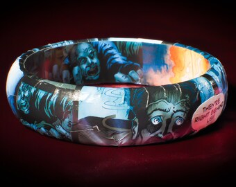 Zombie comic bracelet - Escape of the Living Dead, horror art, hand made, comic bracelet, zombies, spooky jewelry, goth