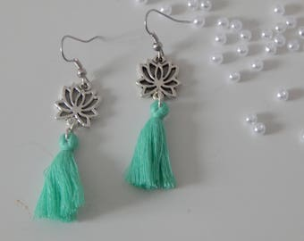 Earrings with lotus flower and tassel