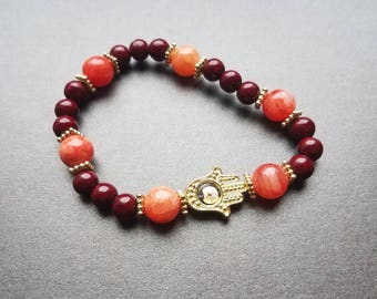 Red Quartzite Hand of Hamsa Bracelet