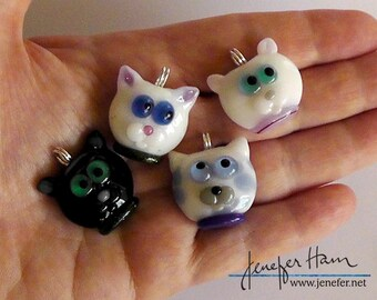 COOL CAT! Wearable Kitty Marker necklace by Jenefer Ham Glass Sculpture board games
