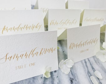 Wedding escort cards etsy calligraphy place cards wedding escort cards wedding place cards handwritten folded place cards junglespirit Images