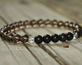 Obsidian and Smokey Quartz Mala Bracelet, Base Chakra, Yoga Bracelet, Healing Bracelet, Meditation Bracelet, Stack Bracelet, Prayer Bracelet