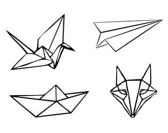 Sets Origami temporary tattoos