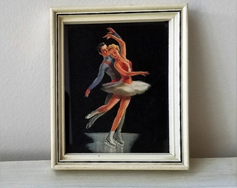 Mid Century Ice Skating Skaters Wall Art Print in Cream Wood Frame, Vintage Figure Skating Ice Dancing Man Woman Pair Couple