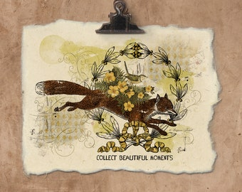 Artisan Collect Beautiful Moments Fox Handmade Paper Print.