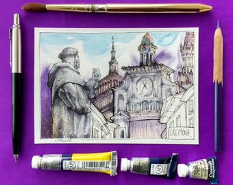 Beautiful Watercolor Painting! Cremona - Italy, Postcard size