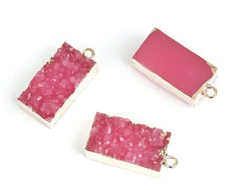 1 Pink Resin Druzy Pendant Gold Plated with Attached Loop Rectangular Shaped - Z366