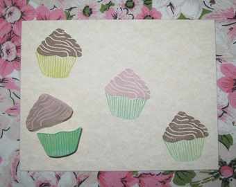 Hand Carved Cupcake Rubber Stamp