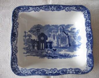 Vintage Geo.Jones & Sons Blue and White Transferware Shredded Wheat Dish Bowl  1930's  Breakfast  Cereal England