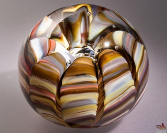 Handblown Glass Paperweight - Earth Tone Streaks with Sea Life Shape and Bubble - Small