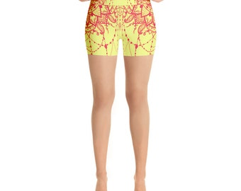 Yellow Yoga Shorts  with Dreamcatcher (no pocket)