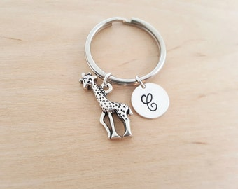 Giraffe Keychain - Animal Gift - Personalized Keychain - Initial Keychain - Custom Key Chain - Personalized Gift - Gift for Him / Her