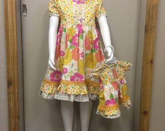 Hello Spring  5T and 18' doll dress
