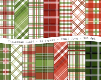 Christmas Plaid digital scrapbooking paper pack - 14 tartan printable jpeg papers, 12x12, 300 dpi - instant download