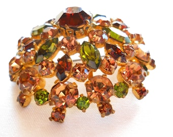 Vintage Brooch Signed Made in Austria Topaz and Green Rhinestone Domed Brooch Pin