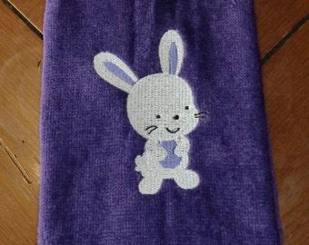 Purple Embroidered Finger Tip Towel  - Easter - Bunny