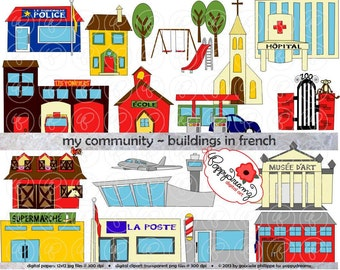My Community Buildings in FRENCH Clipart: (300 dpi transparent png) Teacher Clip Art Creative Writing Police Fire Station School Grocery