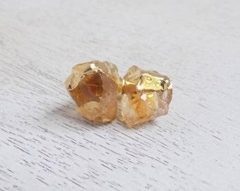 Yellow Citrine Stud Earrings, Raw Citrine Earrings, Gemstone Earrings, Small Stone Posts, Gold Posts, Raw Stone Posts, Stud Earrings, G5-699