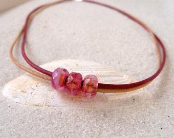 Boho Jewelry - Bead Necklace - Leather Jewelry - Leather Necklace - Bead Jewelry - Pink Necklace - Minimalist Jewelry - Boho Necklace