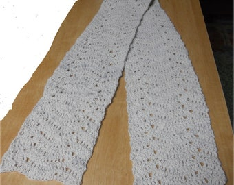 "Crocheted Scarf 100% Llama Fiber Wool, 5 1/2 feet long x 7 1/2"" wide, White and Beautiful!"