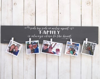 Side by side or miles apart family close to heart, picture frame, photo frame, family frame, family photo, children photo, rustic decor