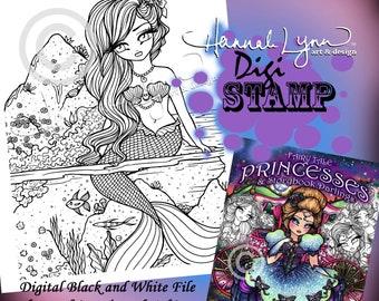 PRINTABLE Digi Stamp Little Mermaid Coloring Page Fun Fantasy Art Fairy Tale Princesses Storybook Darlings Hannah Lynn