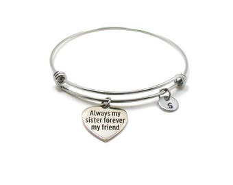 Always My Sister Forever My Friend Bracelet, Always My Sister Forever My Friend Bangle, Sisters Jewelry, Sisters Charm, Best Friends Bangle