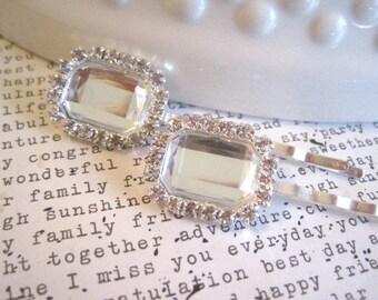 Fancy Bobby Pins, Diamond Rhinestone Hairpins, 2 Silver Bobby Pins, Halo Setting, Bridal Hair Accessory, Hair Bling, Gifts for Women