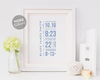 Birth Details Print-Custom Nursery Art-Nursery Print-Nursery Decor-Nursery Wall art-Custom Birth Print-Baby name print-Printable Art