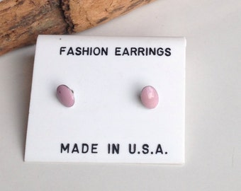 Enamel Earrings, Stud Earrings, Tiny Earrings, Post Earrings, Pink Earrings, Salmon Pink, Bubblegum Pink