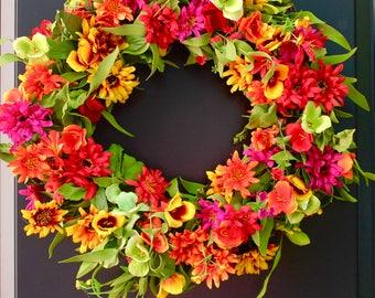 Bright Floral Summer Door Wreath -Spring Flower Wreath - Summer Door Decor -