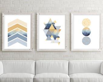 Trending Now Art, Downloadable, Set of 3 Prints, Print Set, 3 Print Set, Mustard, Blue, Navy, Triptych, Scandinavian Print, Poster, Wall Art