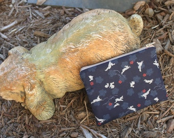 Bunny Print make up bag , accessory bag, phone pouch, purse