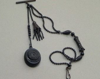 Antique Victorian LOCKET Black Mourning Jewelry Watch CHAIN Tassel, Whitby Jet Gutta Percha Bog Oak Vulcanite, Memorial MEMENTO Mori 1870's
