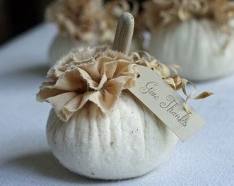 Fabric Pumpkin Off White Warm Natural Rustic Cottage Chic Fall Thanksgiving Centerpiece Table Decoration Wedding Favor Place Setting