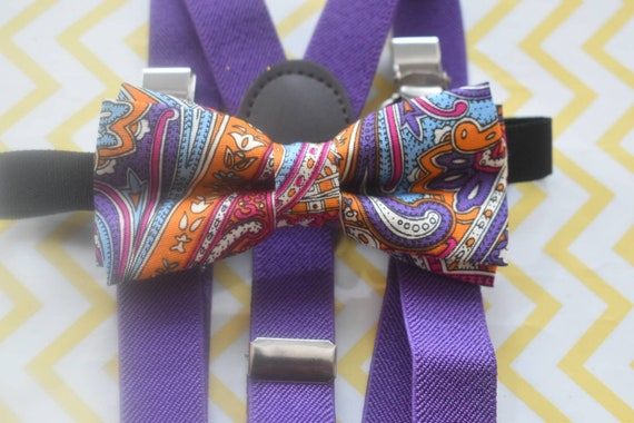 Kids Paisley Purple Bow Tie with Purple Suspenders / Braces  for Baby, Toddlers and Boys - Wedding / Cake Smash / Birthday / Christening