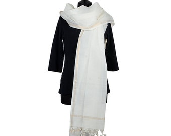 CHETTINAD SCARF - Off White with Gold Brocade