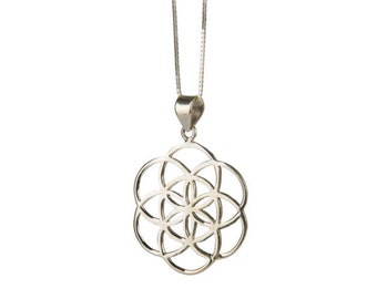 Seed of Life Sterling Silver Pendant Necklace Spiritual jewellery Yogi Jewellery Geometry Jewellery Handmade Free UK delivery