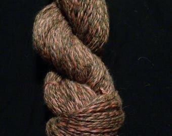 Handspun Yarn Cinnamon's Jacob Sheep Wool, Natural Brown & Sumac Dyed White Wool