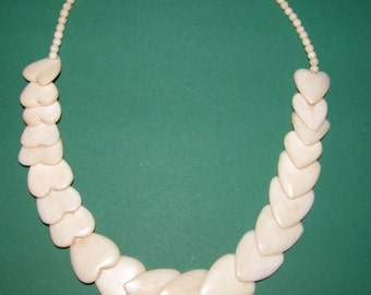 Vintage Ethnic Heart Shaped Carved Cow Bone Necklace