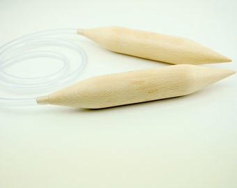 Circular big wooden needles 40mm-50mm. Knitting needles