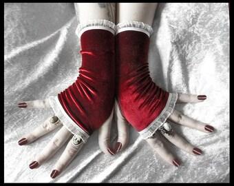 The Passion of Lovers Fingerless Gloves | Deep Wine Red Velvet White Ruffle Lace | Vampire Boho Dark Tribal Belly Dance Elegant Emo Goth