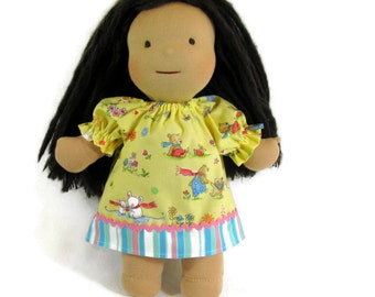 14 inch, 15 inch, 16 inch Waldorf doll dress,  Yellow and pastel stripe doll clothes